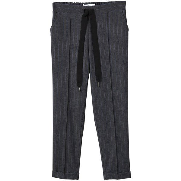 Semi-Baggy Cord Trousers (2.340 RUB) ❤ liked on Polyvore featuring pants, grey, baggy pants, high-waist trousers, baggy trousers, high waisted baggy pants and grey trousers