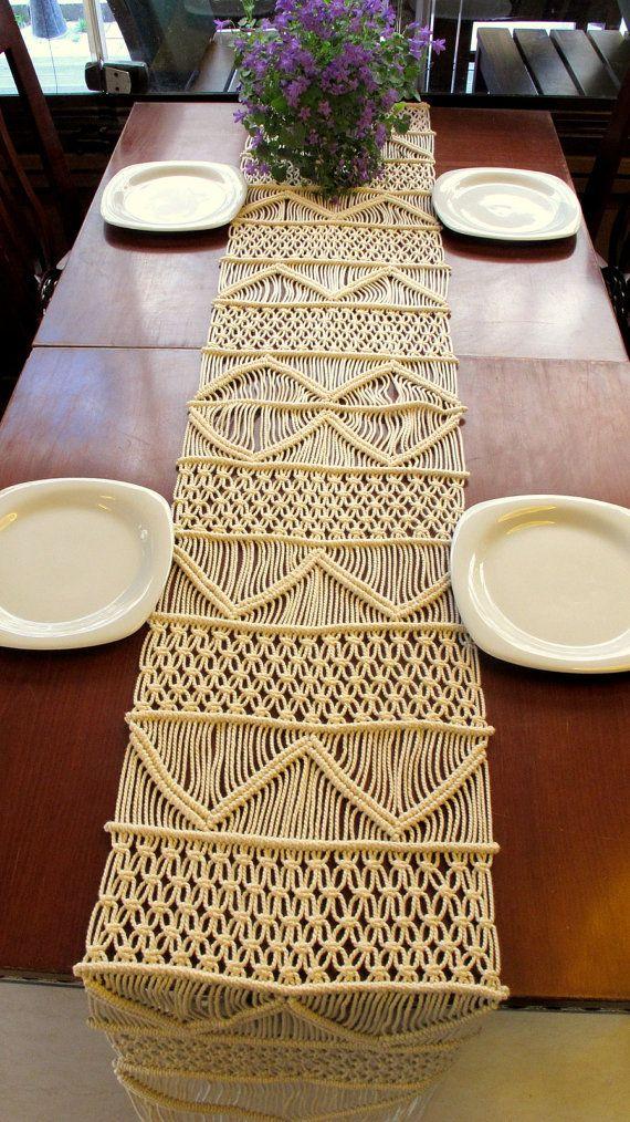 ON SALE Handwoven Macrame Table Runner Handmade by WallKnot