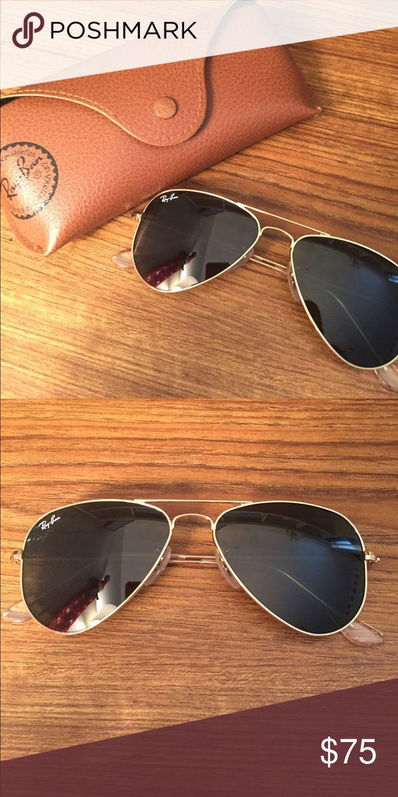 Black and Gold Ray Ban Aviators Sunglasses New Never Worn - Small gold and black Ray Ban aviators in case Ray-Ban Accessories Sunglasses