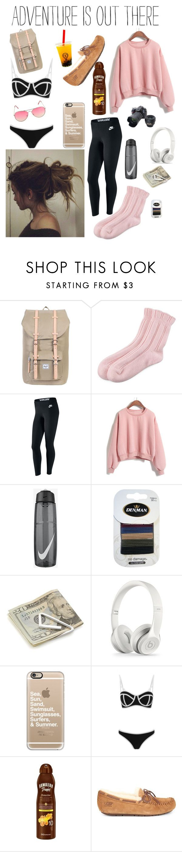 """""""At the airport ✈️"""" by kylieirwin11 ❤ liked on Polyvore featuring Herschel Supply Co., Falke, NIKE, Denman, Crate and Barrel, Nikon, Casetify, South Beach, Hawaiian Tropic and UGG"""