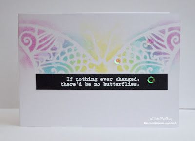 InvisiblePinkCards: Handmade card using STAMPlorations stamps and stencils with Distress Oxides