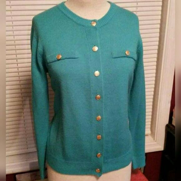 Turquoise Cardigan Turquoise Gold buttons Faux Pockets. The tag has been cut out. So I'm not 100% sure about the size Sweaters Cardigans