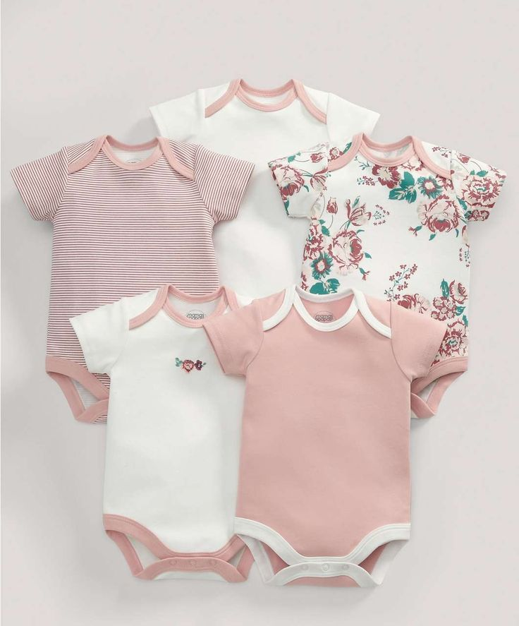 Bodysuits (5 Pack) Vintage Floral Print - 3 For 2 Baby Basics - Mamas & Papas
