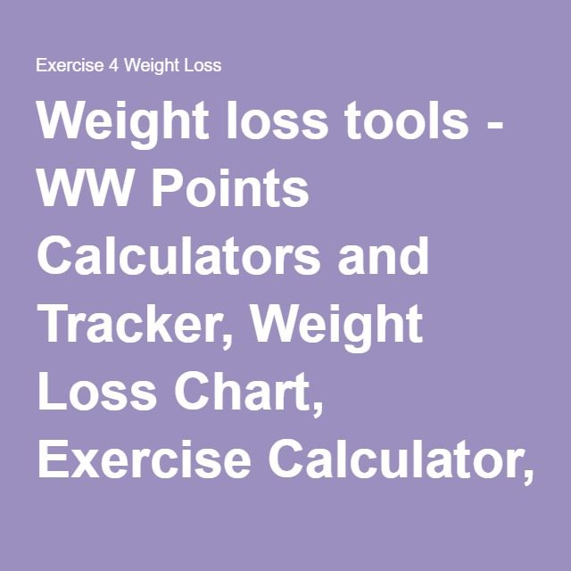 Weight loss tools - WW Points Calculators and Tracker, Weight Loss Chart, Exercise Calculator, Printable Weight Loss Journal and more