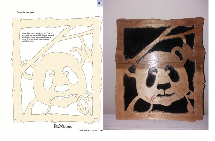 This is a panda eating bamboo. I used the scroll saw to cut it out of a piece of 1/8 plywood than placed on a 1/8 plywod backing finshed with 3 coats of laquer