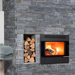 Aduro 5 Insert - Black wood burning stove. Aduro 5 is a new and elegant fireplace insert to create a cosy and environmentally correct heating.  It is formed in a stylish, minimalist design with a completely smooth front and a large glass door that gives a free view of the dancing flames.  However, Aduro 5 is more than just a handsome design.  It is a high-tech fireplace insert developed with the most modern and advanced combustion principles.