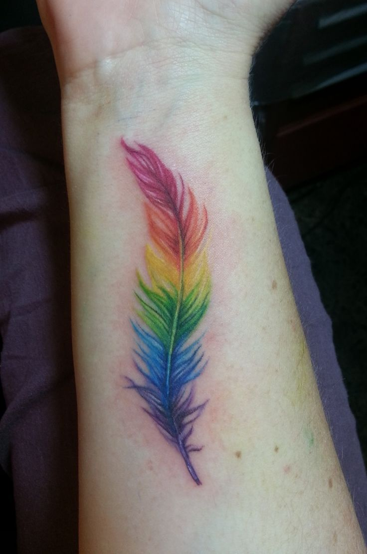 Rainbow feather tattoo