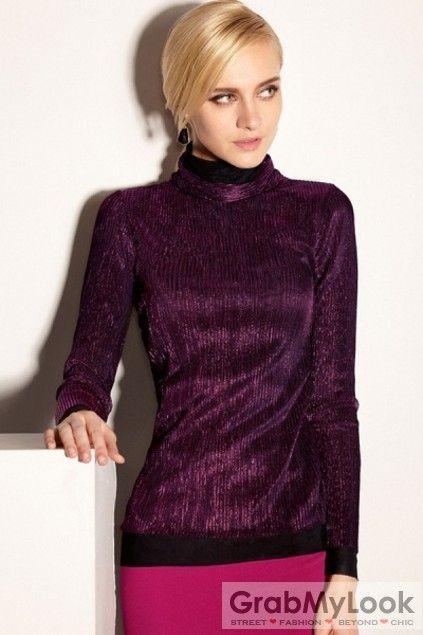 GrabMyLook  Turtleneck Glittering Lace Panel Long Sleeves T-Shirt Tee