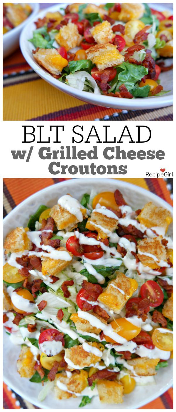 BLT Grilled Cheese Salad recipe : Here's a Bacon, Lettuce and Tomato Salad with Grilled Cheese Croutons and Ranch Dressing.  This salad is totally kid friendly!
