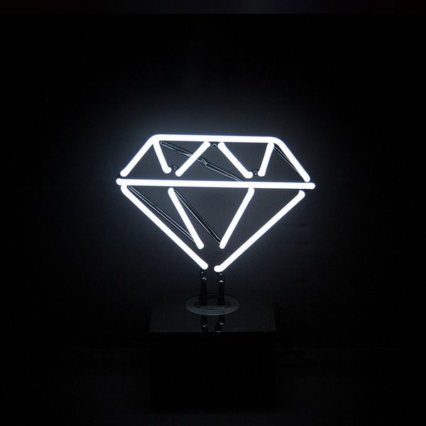 Desktop Neon Light Diamond ($100) ❤ liked on Polyvore featuring home, home decor, office accessories, harlequin sign, handmade signs and neon signs