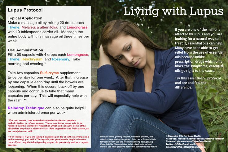 Lupus is a debilitating autoimmune disease.  If you are one of the millions affected and are looking for natural treatment, essential oils can help.  Check us out at Facebook.com/EssentialOilsforGoodHealth or Twitter at Twitter.com/EOs4GoodHealth for much more information about how essential oils can help you.