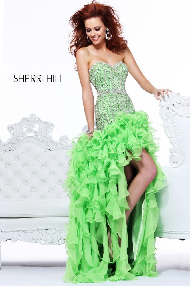 green peacock dress | Fun high-low lime green prom dress 2013 from Sherri Hill <3!<3!<3!<3!<3!