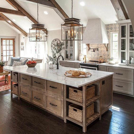 Love the wooden island and white cabinets- peaceful and a bit rustic