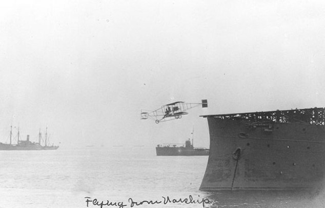 Using the same aircraft, Ely landed on the USS Pennsylvania on January 18, 1911, while the ship was anchored at the San Francisco waterfront. He had to use a braking system made of ropes and sandbags, but he was able to quickly turn around and take off once again.