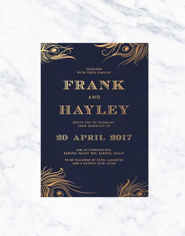 Peacock Feather Foil Wedding Invitations Sail