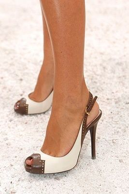 Classic brown and cream slingback pumps