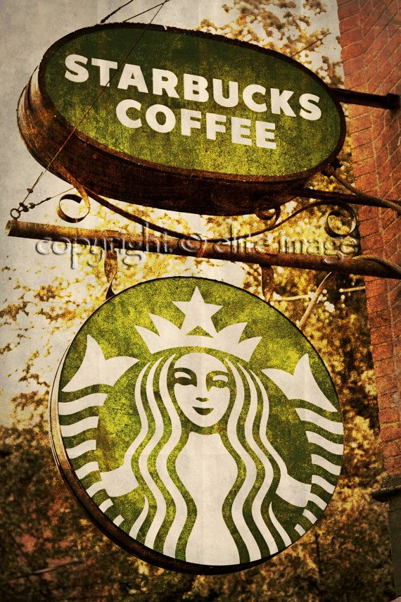 Rusty framed Starbucks Sign
