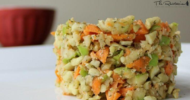 Raw Cashew Apple Salad: 3/4 cup cashews, 1 carrot, 1 apple, 1 T chopped onion, 1 T lemon juice, 1 t dill spice (optional), 1/8 t sea salt