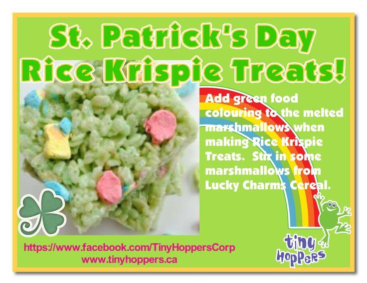 St. Patrick's Day Rice Krispie Treats - Tiny Hoppers