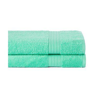 Winston Porter Peabody 2 Piece Bath Towel Set Color: Island Green