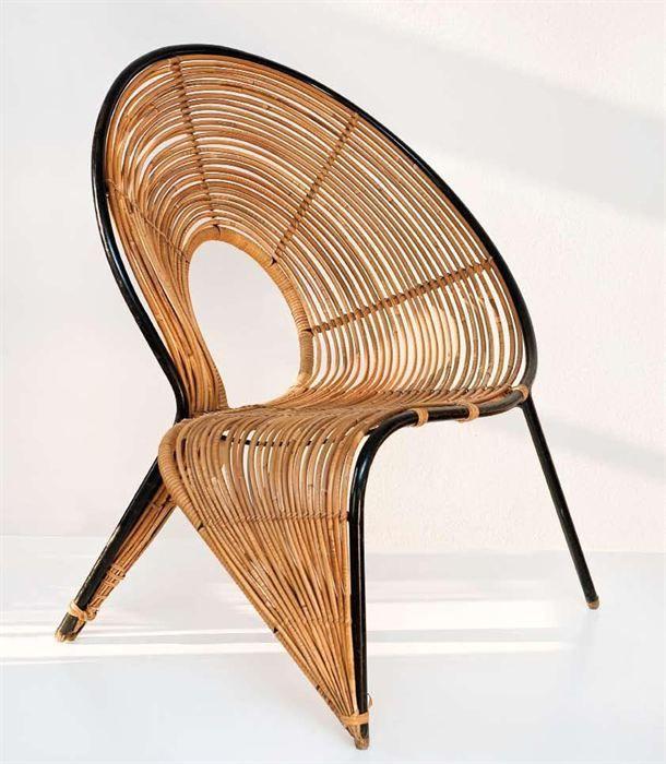 Rattan chair, Wladyslaw Wolkowsky - Circa 1950  Wow, what an art form of a chair!