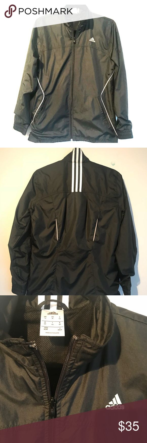 Adidas Women's running Jacket Adidas Women's running Jacket Color: Black with white straps in the back  Size: Medium  Great Conditions, doesn't show any damages. adidas Jackets & Coats Utility Jackets