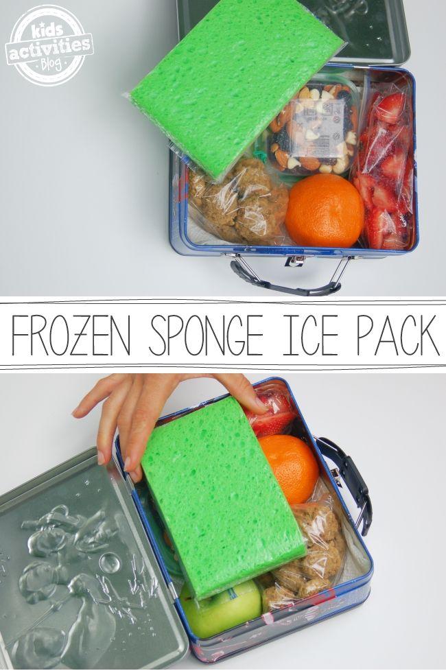 #marmitando com esponja de cozinha congelada para manter o alimento refrigerado