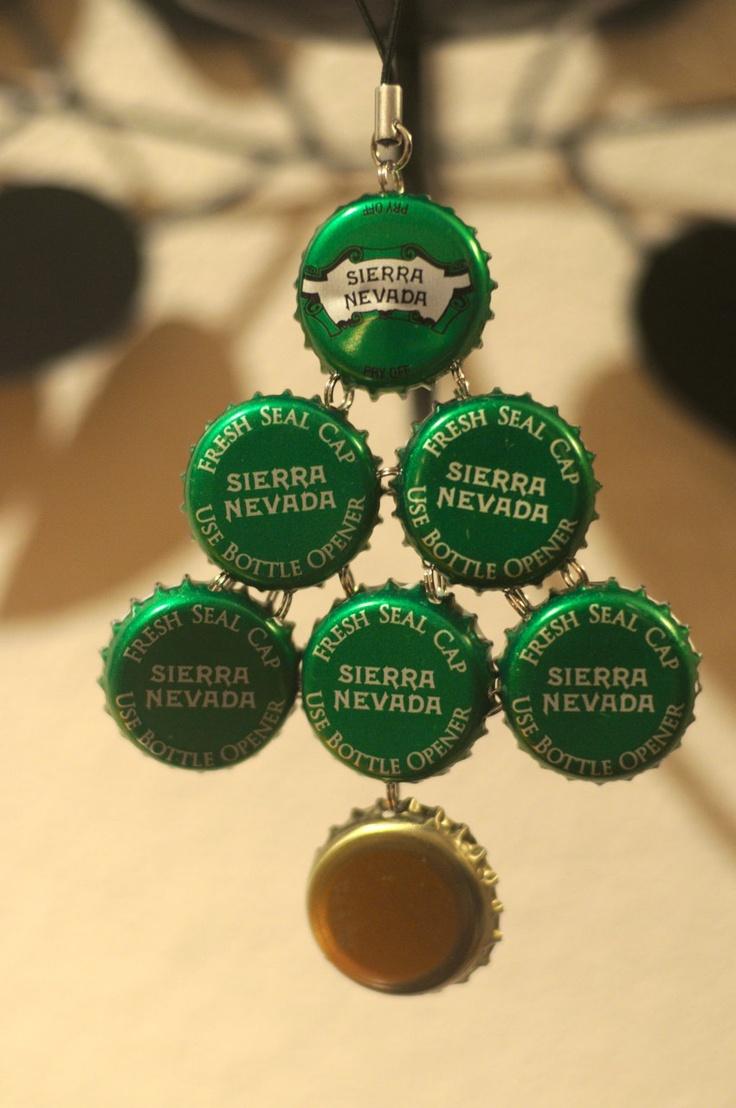 887 best bottle cap crafts images on pinterest bottle for How to make a beer bottle christmas tree