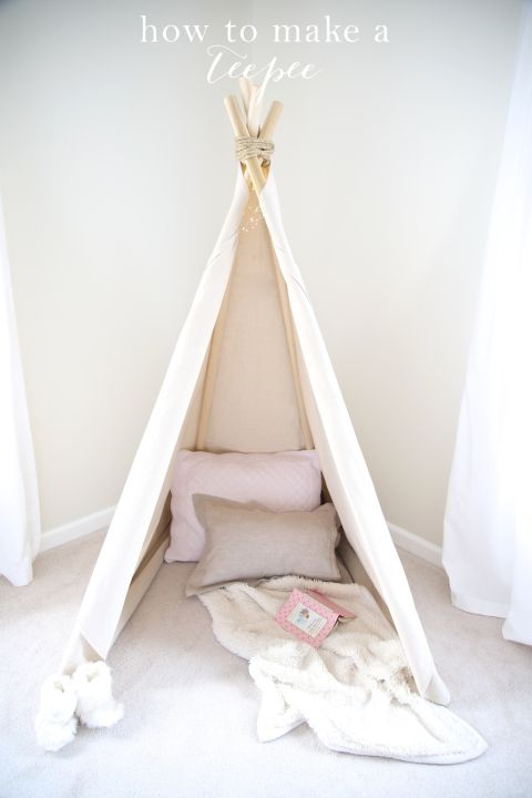 DIY no sew teepee for a kids' room with detailed instructions @julieblanner