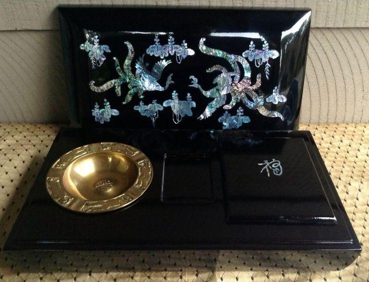 VTG Asian Black Lacquer Mother of Pearl Inlay Smoking Set Box Ashtray Phoenix