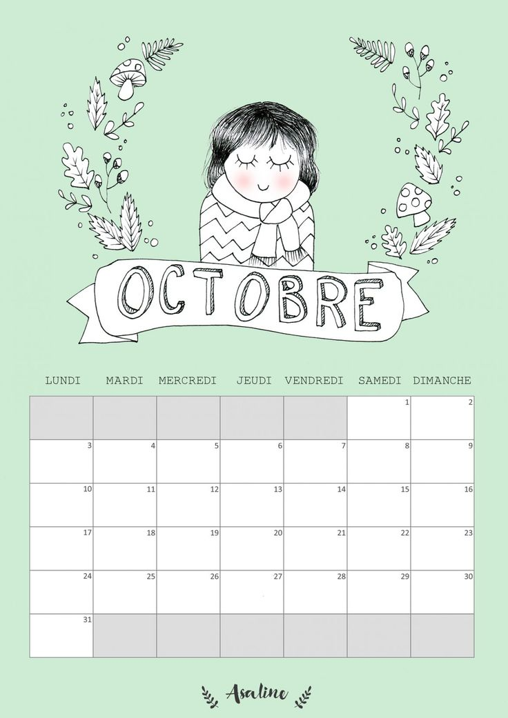 Free October 2016 Calendar