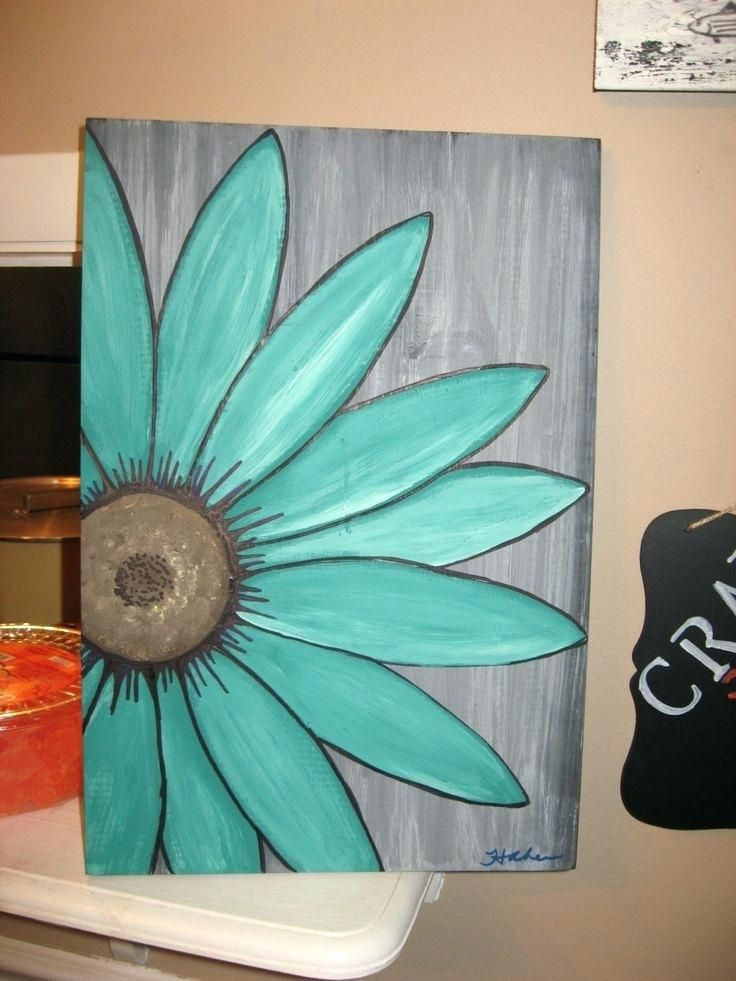 Canvas Painting Ideas Easy Easy Canvas Paintings Easy Canvas Daisy Painting Diy Canvas Art Easy Canvas Painting