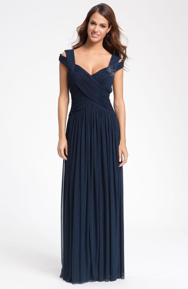 JS Collections Beaded Mesh Gown, navy bridesmaid dress off the shoulder