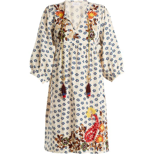 Velvet By Graham & Spencer Emilie embroidered floral-print linen dress (625 TND) ❤ liked on Polyvore featuring dresses, cream multi, white dress, white linen dress, white ruched dress, white embroidery dress and white floral dress