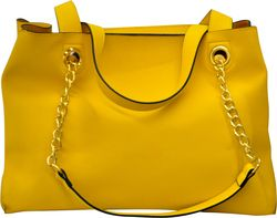 Γυναικεία τσάντα από συνθετικό δέρμα σε κίτρινο χρώμα με χρυσές λεπτομέρειες code 405 0805
