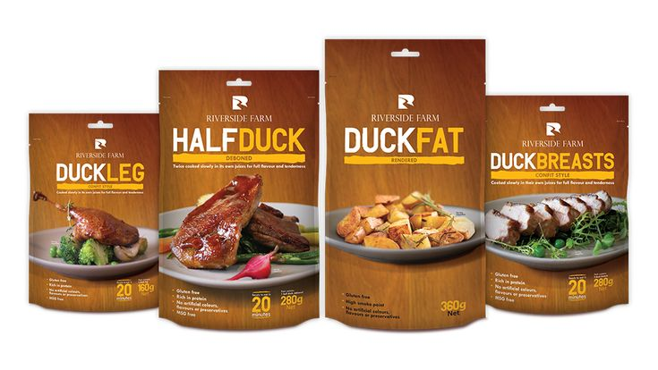Range of packaging designs for cooked duck.