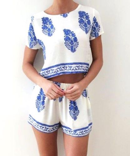 Super Cute Boho Crop Set!! Perfect for summer!! Now @ http://www.ebay.com.au/itm/Boho-Blue-and-White-Summer-Crop-Shorts-Set-by-Reverse-/161622005930