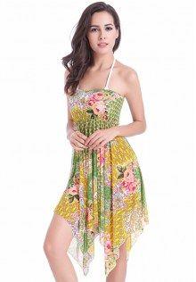 Floral Printed Asymmetric Swimwear Dress