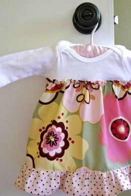 onesie dress! I think I might just have to try this - Easy and cute! They're also very convenient as there is no search for a matching bloomer and the dress doesn't ride up and let a fat baby belly hang out.