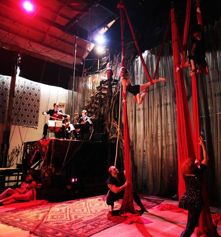 """Dress rehearsal -- five-person group silks/slings piece with Revien playing Arvo Part's """"Fratres"""" -- at Canopy Studio"""