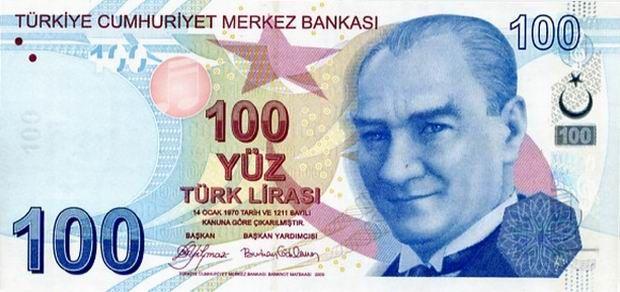 100 turkish lira note front