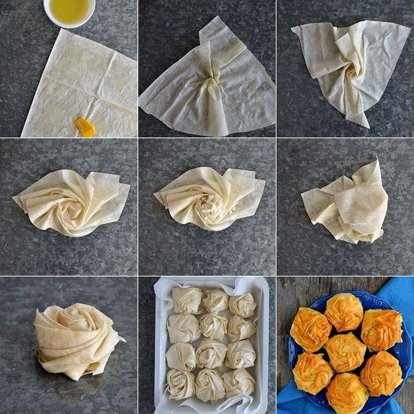 gonca gül böreği nasıl yapılır, börek tarifleri, hazır yufkadan börek tarifleri, değişik börek tarifleri