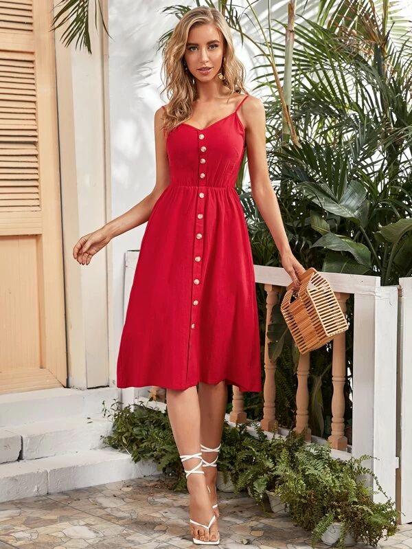 Vermelho Folhado Simples ocasional Vestido | SHEIN Brasil | Red prom dress, Dresses, Summer dresses