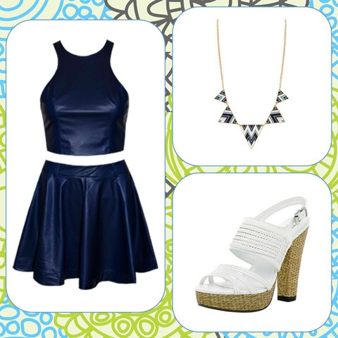 Style Guide: Navy Vinyl Midriff Top & Skirt, White Heels, Statement Necklace