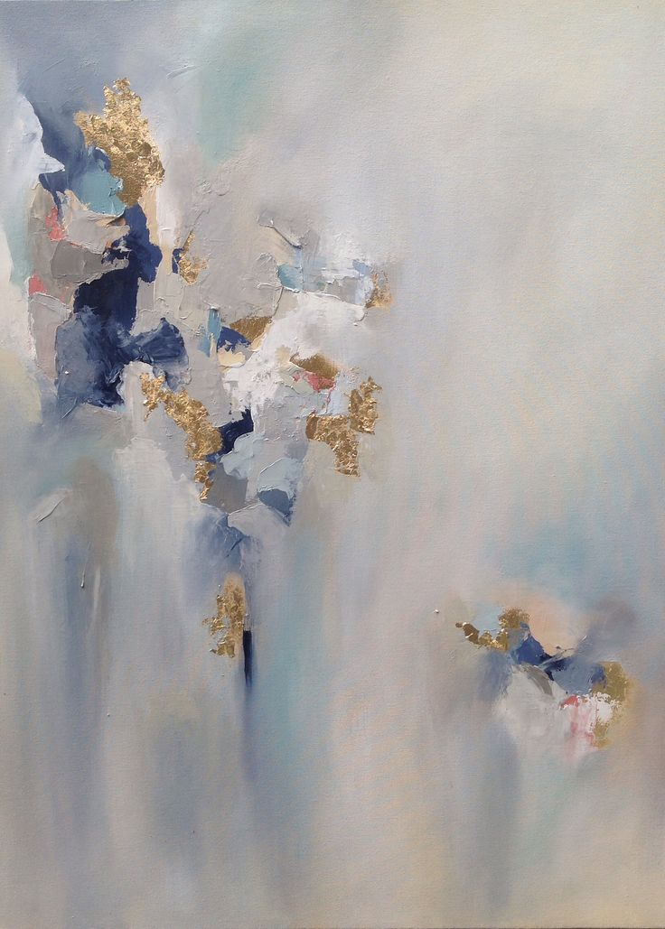Abstract oil painting with gold leafing by Blaire wheeler www.blairewheelerart.com
