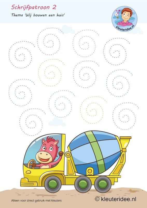 Escrever Padrão 2, tema construir casas, jardins de infância idéia Kindergarten escrita padrão livre de impressão.