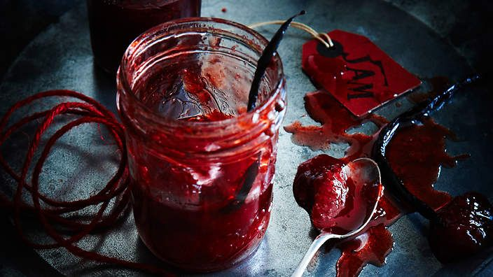 Strawberry and vanilla #conserve is a wonderful way to use up surplus fruit. Recipe from the food dept. (recipe by Sally Courtney, photography by Petrina Tinslay, styling by David Morgan and art direction by Anne Marie Cummins).