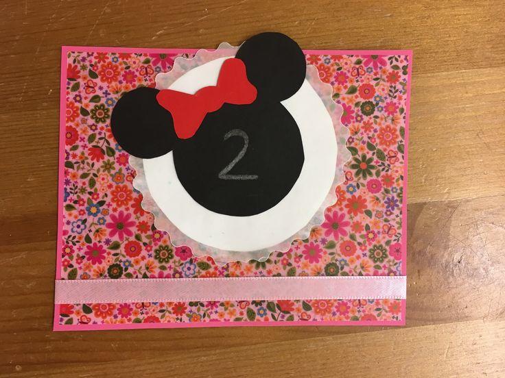 syntymäpäivä, kortti, diy, birthday, card, children, minnie mouse, minni hiiri, 2, 2016