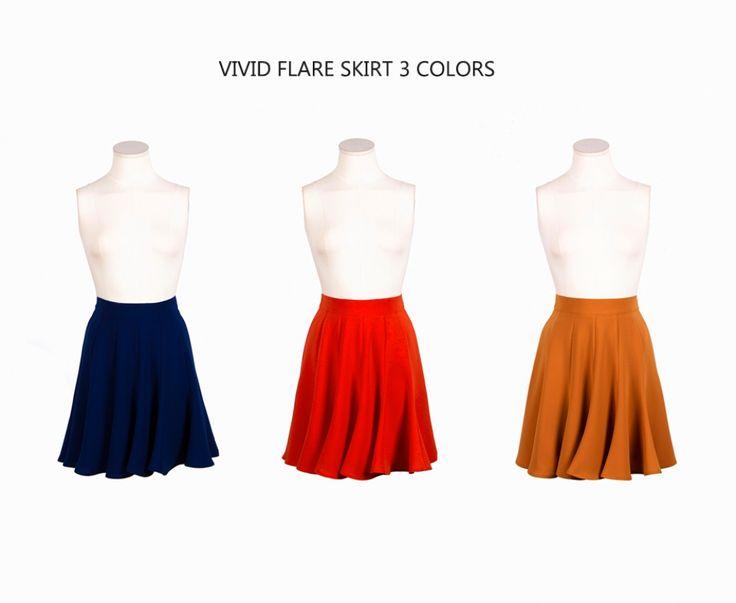 Vivid Flare skirt (blue,orange,mustard) 비비드 플레어 (블루,오렌지,머스타드)
