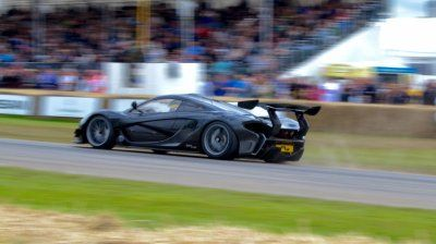McLaren P1 LM - cost £3m; and 990hp - sets the fastest ever time by a road-legal car at Goodwood Hillclimb at Goodwood 2016